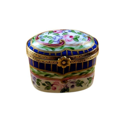 Blue Tall Oval With Flowers Traditional Limoges Box