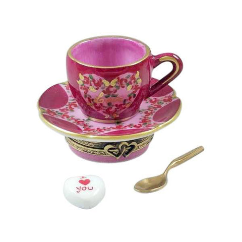 "VALENTINE'S ""LOVE"" TEA CUP W/ SPOON AND SUGAR HEART LIMOGES BOXES - Limoges Boxes Porcelain Figurines"