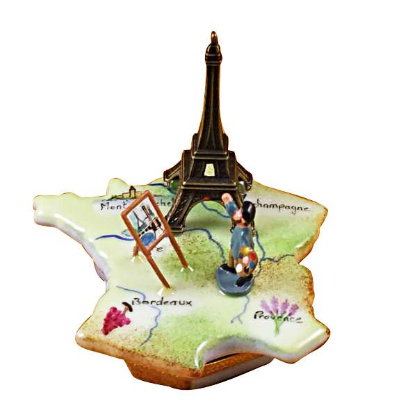 MAP OF FRANCE W/MONET & EIFFEL TOWER-france art Rochard Limoges Box-Rochard-Limoges Box Boutique