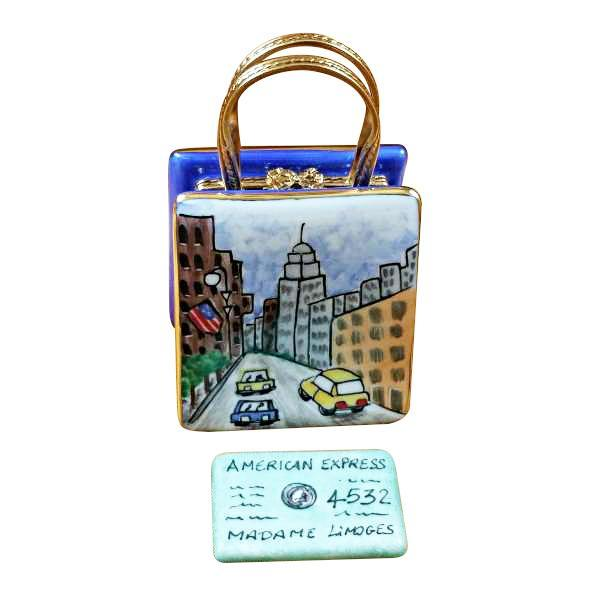 5Th Avenue Shopping Bag W/ Credit Card Limoges Boxes Limoges Boxes Porcelain Figurines Collectibles French Gifts