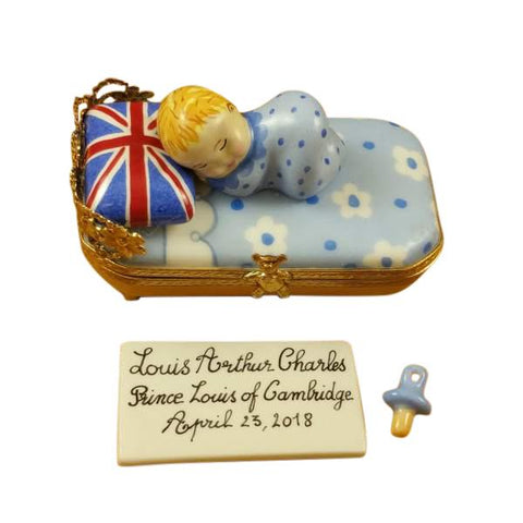 PRINCE LOUIS OF CAMBRIDGE SLEEPING - INCLUDES PLAQUE AND PACIFIER LIMOGES BOXES BOUTIQUE