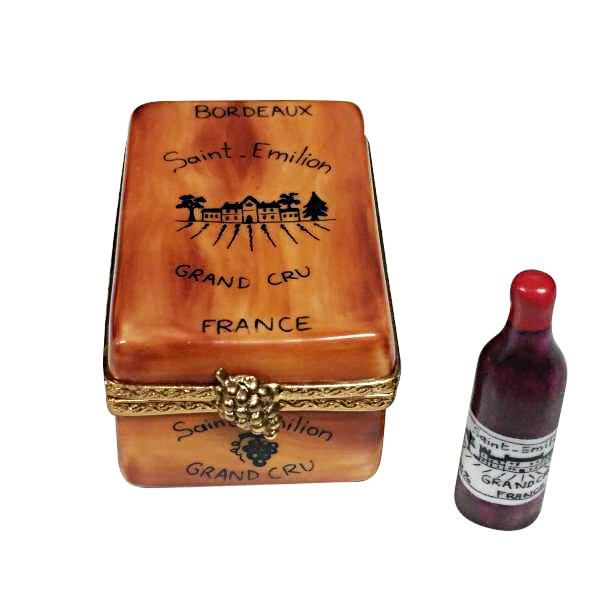 BOURDEAUX TASTING CRATE WITH 1 BOTTLE, 1 GLASS AND CORK SCREW - Limoges Boxes Porcelain Figurines