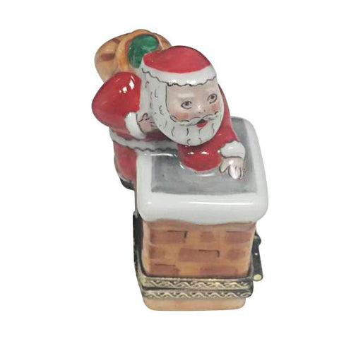 Santa Claus on Chimney Roof - Limoges Boxes Porcelain Figurines