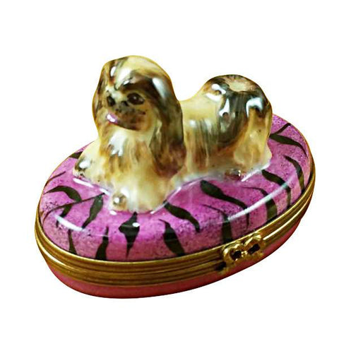 PEKINGESE ON PURPLE BASE LIMOGES BOXES BOUTIQUE