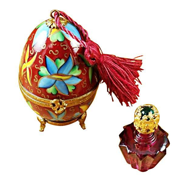 RED-BLUE EGG W/1 BOTTLE LIMOGES BOXES - Limoges Boxes Porcelain Figurines