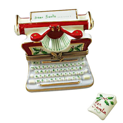 Christmas Typewritter Limoges Box - Limoges Boxes Porcelain Figurines