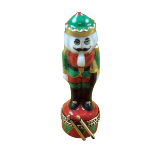 Nutcracker Green on Red Base Limoges Porcelain Boxes - Limoges Boxes Porcelain Figurines