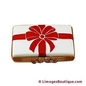 Gift Box With Red Bow -  Limoges Box Limoges Boxes Porcelain Figurines Collectibles Gifts