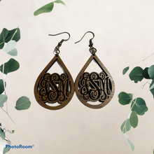 Load image into Gallery viewer, Wooden Monogram Teardrop Earrings
