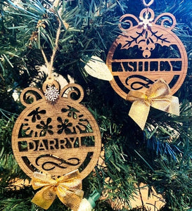 Personalized SINGLE NAME Wooden Ornaments