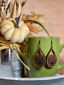 Wooden Monogram Teardrop Earrings