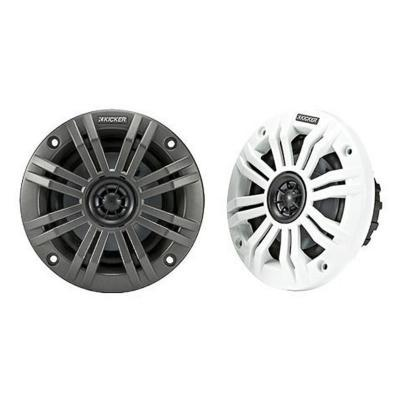 Kicker 45KM654 6.5 Inch Marine Coaxial Boat Speakers, Black and White Grilles - Installations Unlimited