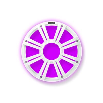 Kicker 45KMG10W Marine 10″ Subwoofer White Multi Color Light Sub Grill - Installations Unlimited
