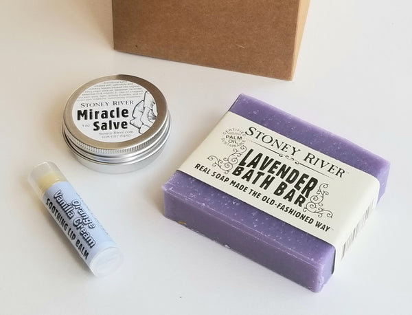 Gift Box with soap, lip balm and salve
