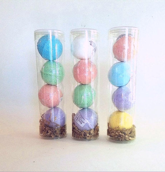 Set of  bath bombs in tubes
