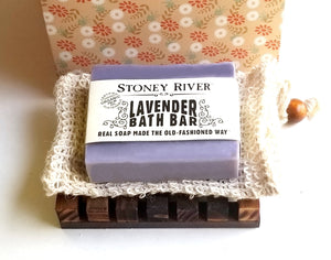 Gift Set  -  Gift Box with Handcrafted Soap, Handmade Soap Dish Made of Natural Pine and Soap Exfoliating Bag Natural Soap Saver