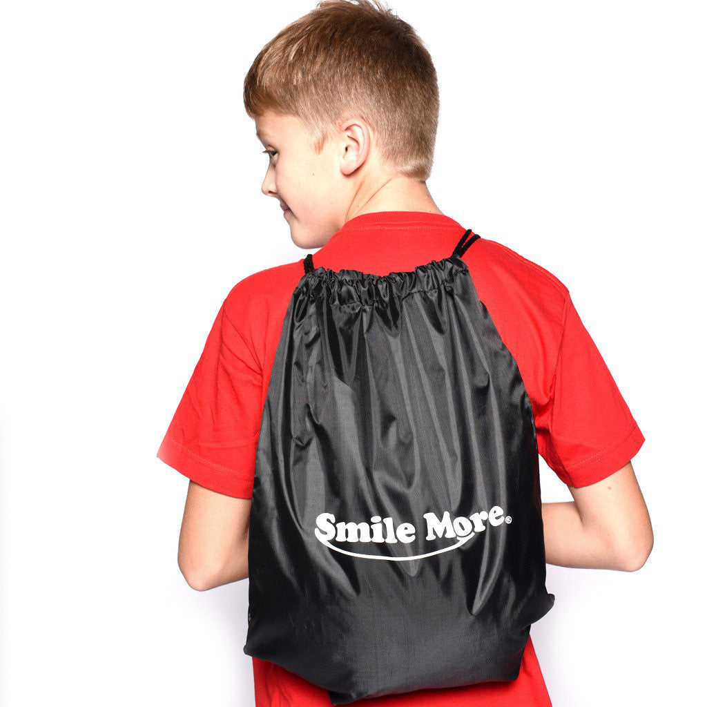 "Smile More Drawstring Sportpack 18"" x 14"""