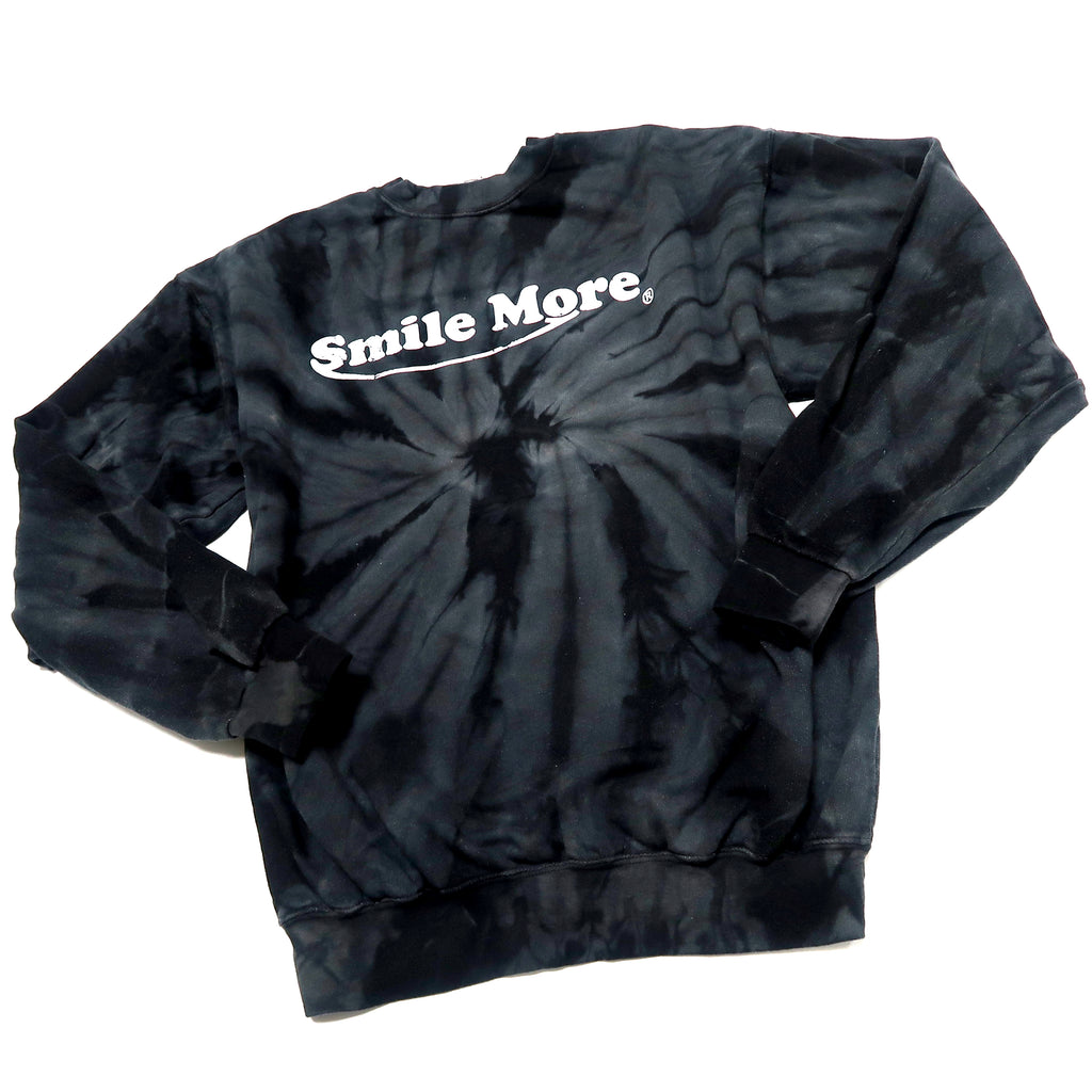 Smile More Black Tie Dye Crewneck - Classic Distressed Logo