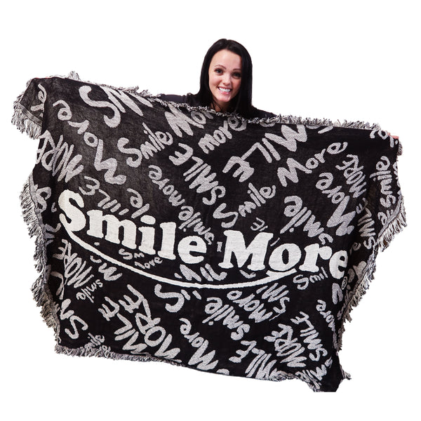 Smile More Throw Blanket