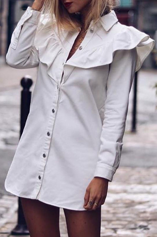 Robe Chemise Blanche Manches Longues