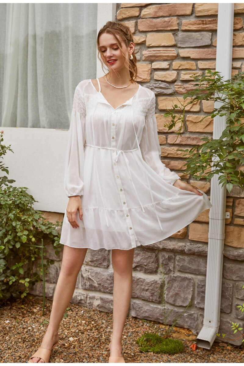 Robe Chemise Oversize Blanche