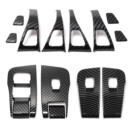 Trim Door Panel Decal (14 Pieces - Black Carbon FIber) | Tesla Model 3/Y - S3XY Models