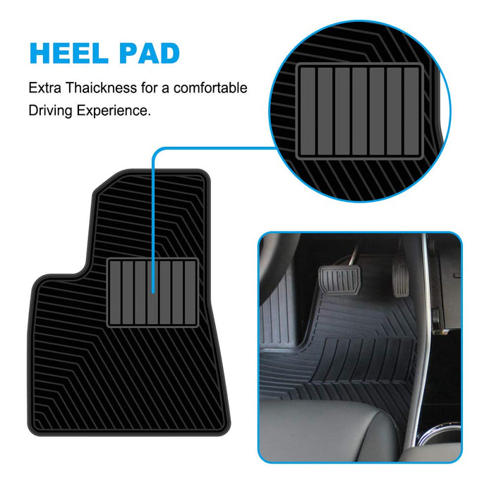All-Weather Non Slip Waterproof Heavy Duty Mats (3 Pcs) | Tesla Model 3 - S3XY Models