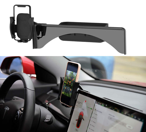 Full Screen Phone Mount w/ Storage (Silicone) | Tesla Model 3 & Y - S3XY Models