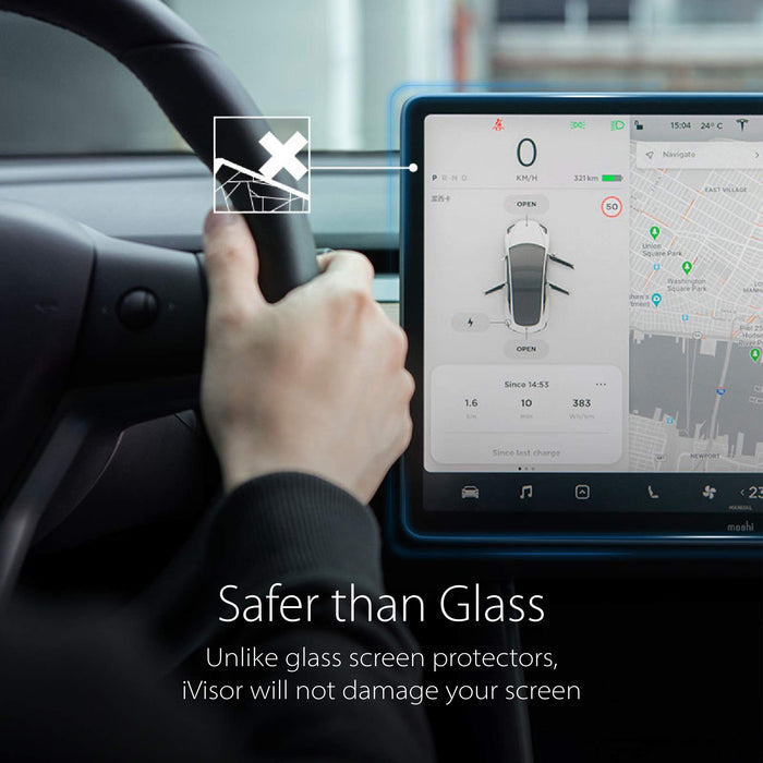 Anti-Glare Bubble-Free Moshi iVisor AG Matte Screen Protector for Tesla Model 3// Model Y 15 Central Touchscreen Fingerprint /& Scratch Resistant Washable /& Reappliable Easy Installation