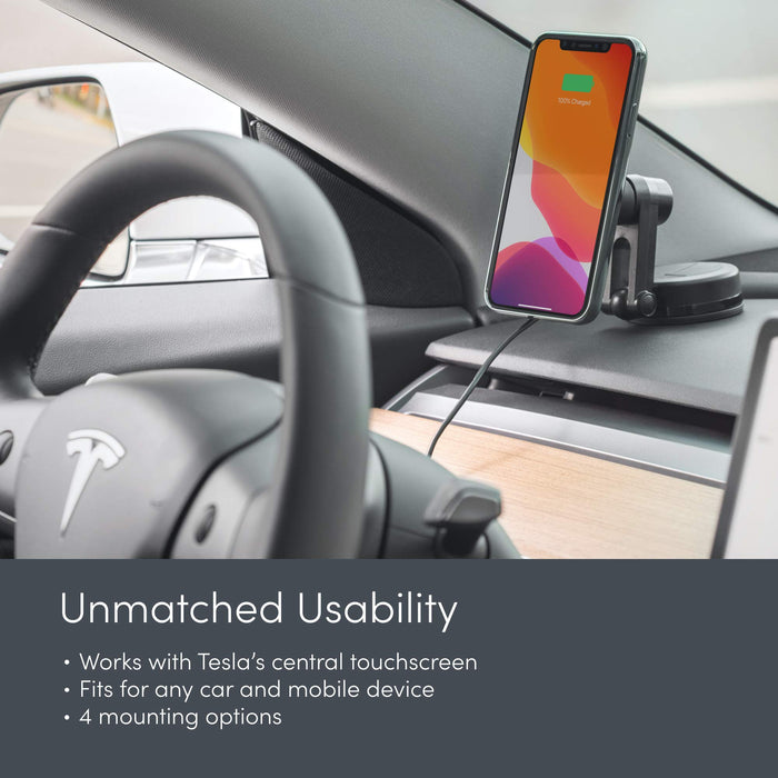 Moshi Magnetic Universal Car Mount w/ Wireless Charging | Tesla Model S/3/X/Y - S3XY Models