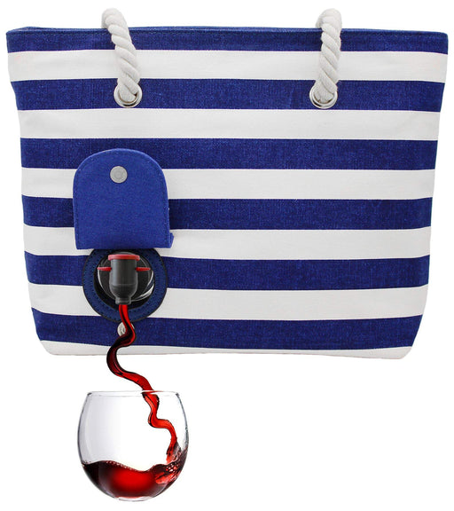 Wine Purse Holds 2 Bottles Hidden Insulated Compartment (Blue/White) | CAMPER MODE - S3XY Models