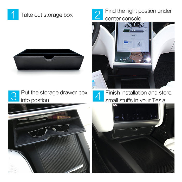 Center Console Drawer Storage (Black) | Tesla Model X & S - S3XY Models