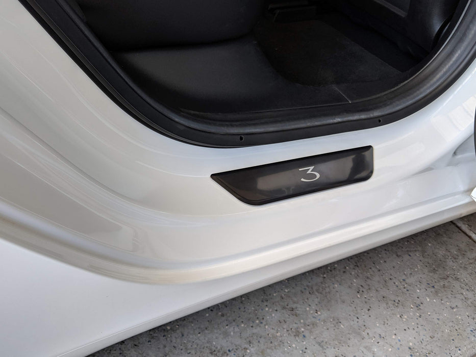 Stainless Steel Rear Door Sill Protector (Black) | Tesla Model 3