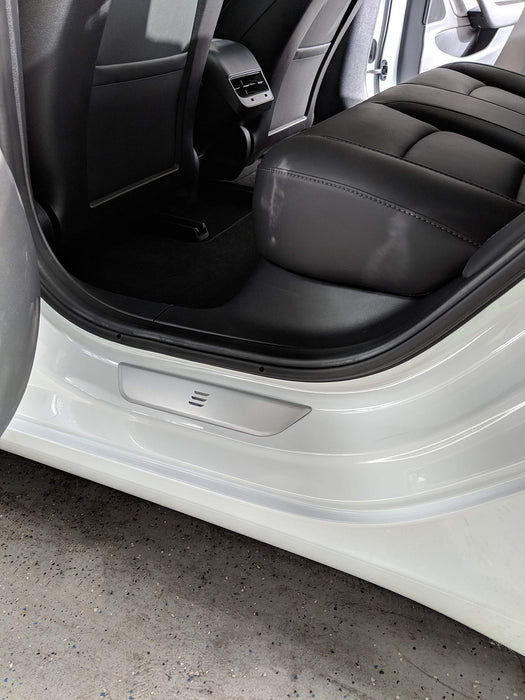 Stainless Steel Rear Door Sill Protector Plates (Set of 2) | Tesla Model 3 - S3XY Models