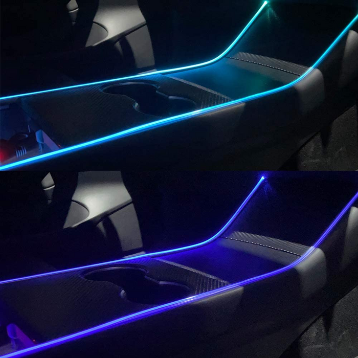 Center Console Light Tesla Model Accessories Easy to Install LED Strip Neon Light Tubes RGB with APP Controller DC 12V Tesla Model 3 Y Interior Car Lights