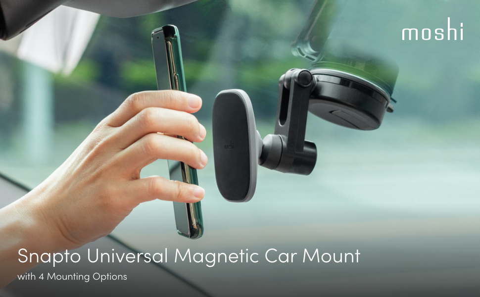 Moshi Magnetic Universal Car Mount w/ Wireless Charging | Tesla Model S/3/X/Y