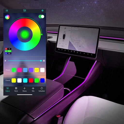 Interior LED Light Strip + App Controller | Tesla Model 3/Y - S3XY Models