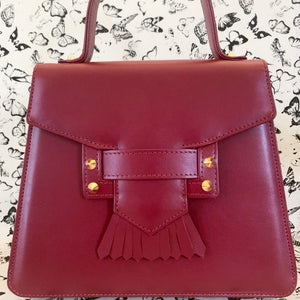 Shop our red hot calfskin leather top handle bag for Valentine's Day at Federal & Black