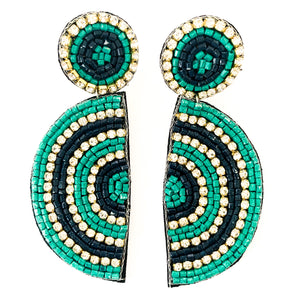 Shop the Teal & Navy Beaded Half Circle Earrings at Federal & Black