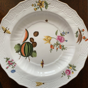 Shop these hand painted white porcelain Chelsea House plates with fruit botanical & butterflies & basket weave pattern at Federal & Black.