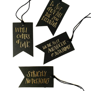 Shop the Pack of 4 Black Foil Printed Gift Tags by Imogen Owen at Federal & Black