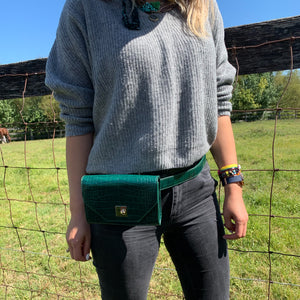 Emerald Crocodile Embossed Belt & Crossbody Bag