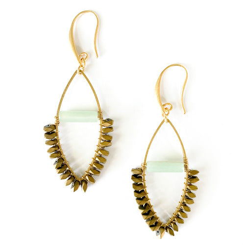 Shop the 18k gold plated Jade & Hematite Drop Earrings with brass ear wires at Federal & Black