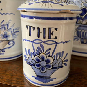 Shop these vintage hand painted blue & white canisters made in France at Federal & Black