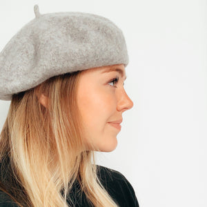 Shop the Sophie 100% Wool Beret in the colors Cinnamon (as shown) Heather Grey and Camel at Federal & Black