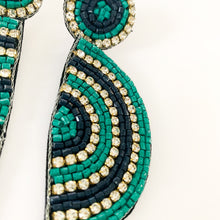 Load image into Gallery viewer, Shop the Teal & Navy Beaded Half Circle Earrings at Federal & Black