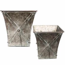 Load image into Gallery viewer, Shop our new square metal planters with zinc style finish.