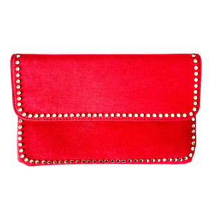Shop the Foldover Clutch in Red w/ Gold Stud Trim at Federal & Black