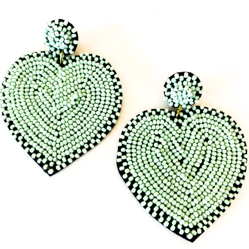 Shop the Mint Green Beaded Queen of Hearts Earrings and others at Federal & Black