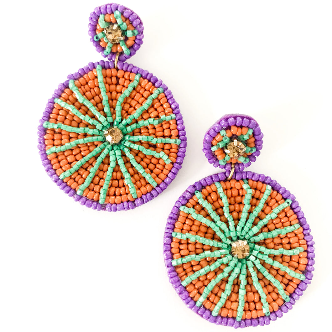 Shop the Purple, Red & Green Beaded Circle Earrings at Federal & Black
